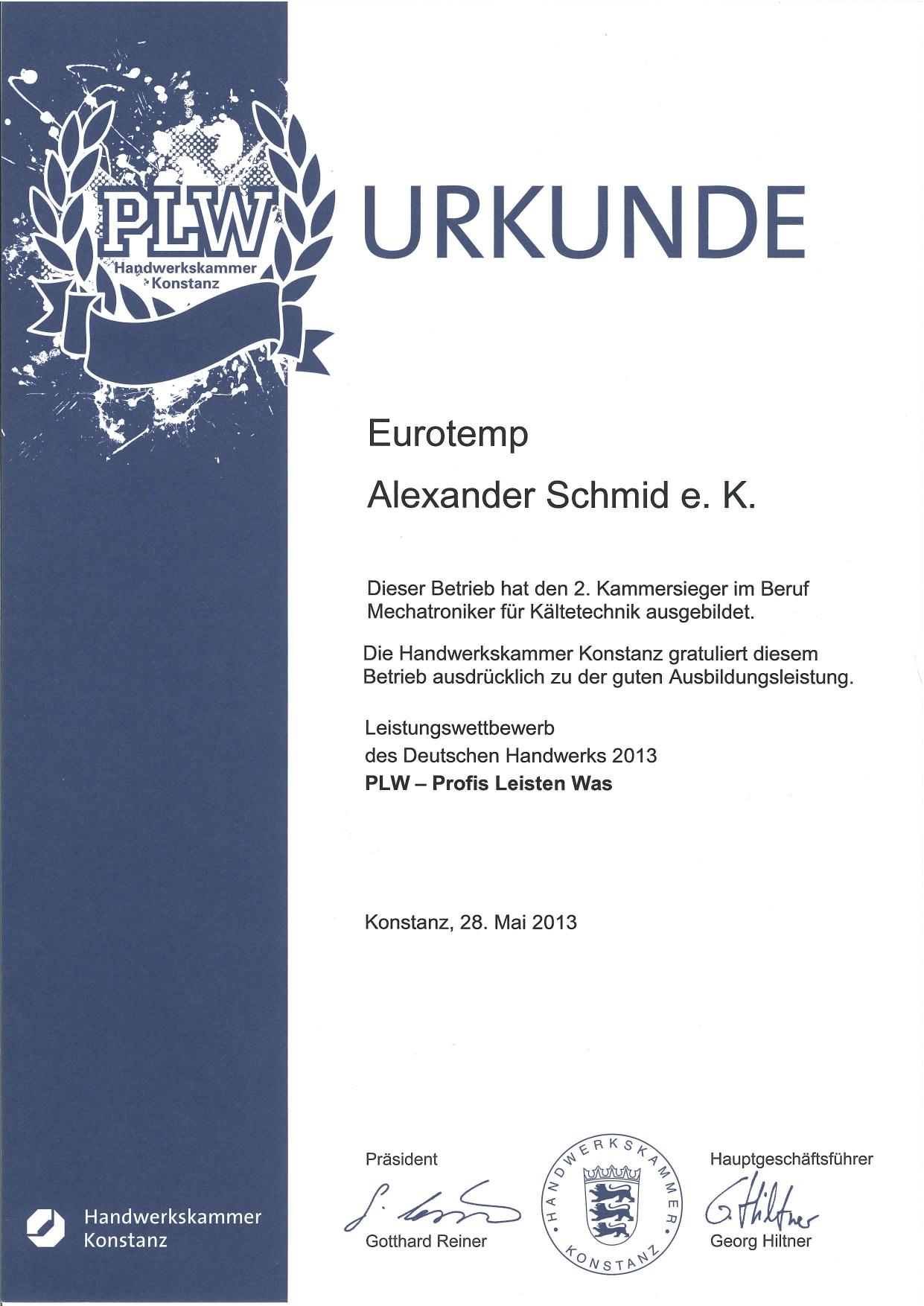 Auszeichnung der Handwerkskammer 2012